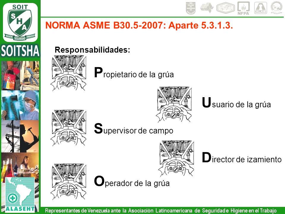 Responsabilidades: NORMA ASME B30.5-2007: Aparte 5.3.1.3. P ropietario de la grúa U suario de la grúa S upervisor de campo D irector de izamiento O pe