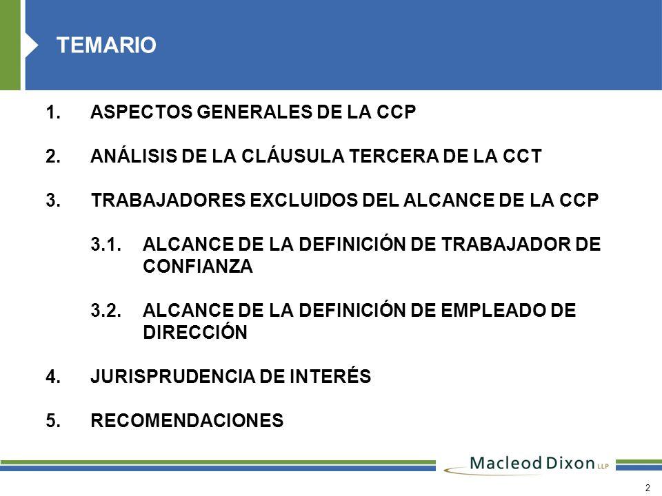2 1.ASPECTOS GENERALES DE LA CCP 2.ANÁLISIS DE LA CLÁUSULA TERCERA DE LA CCT 3.TRABAJADORES EXCLUIDOS DEL ALCANCE DE LA CCP 3.1.ALCANCE DE LA DEFINICI