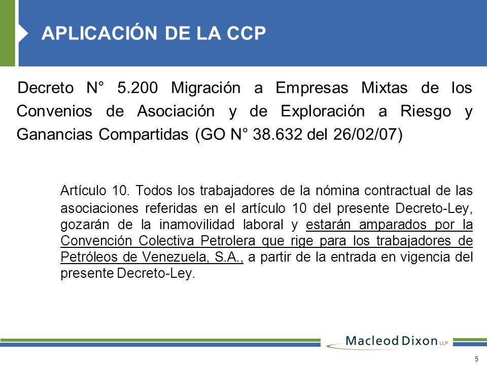 5 Decreto N° 5.200 Migración a Empresas Mixtas de los Convenios de Asociación y de Exploración a Riesgo y Ganancias Compartidas (GO N° 38.632 del 26/0