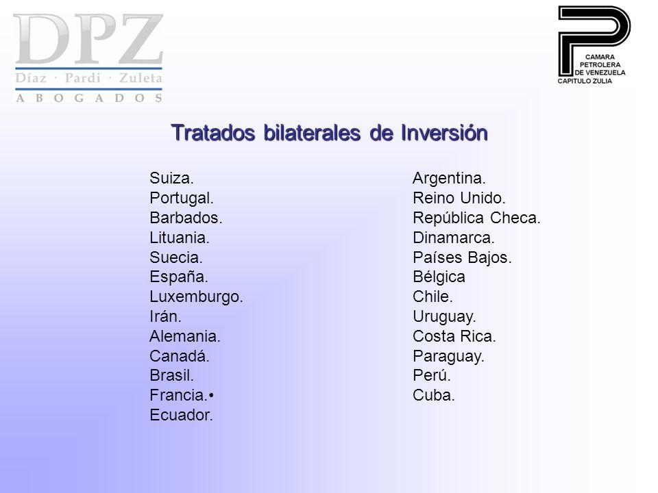 Tratados bilaterales de Inversión Suiza. Argentina. Portugal.Reino Unido. Barbados.República Checa. Lituania.Dinamarca. Suecia.Países Bajos. España.Bé