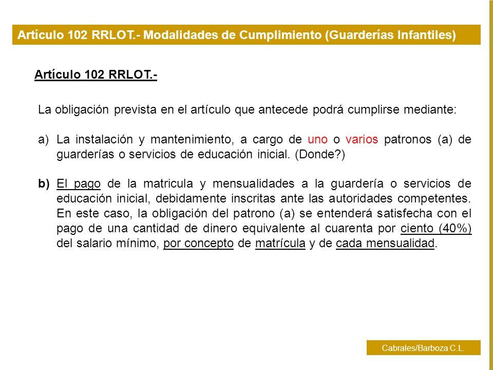 Cabrales/Barboza C.L. La obligación prevista en el artículo que antecede podrá cumplirse mediante: a)La instalación y mantenimiento, a cargo de uno o