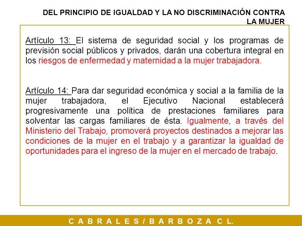 C A B R A L E S / B A R B O Z A C L. Artículo 13: El sistema de seguridad social y los programas de previsión social públicos y privados, darán una co