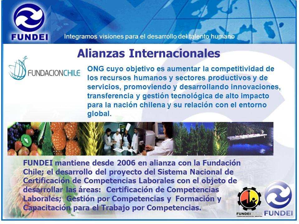Integramos visiones para el desarrollo del talento humano Alianzas Internacionales FUNDEI mantiene desde 2006 en alianza con la Fundación Chile; el de