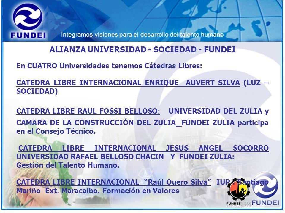 Integramos visiones para el desarrollo del talento humano ALIANZA UNIVERSIDAD - SOCIEDAD - FUNDEI En CUATRO Universidades tenemos Cátedras Libres: CAT