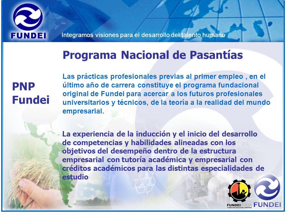 Integramos visiones para el desarrollo del talento humano Programa Nacional de Pasantías La experiencia de la inducción y el inicio del desarrollo de
