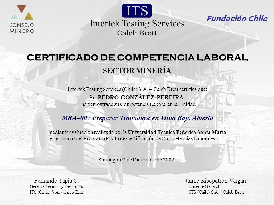 Integramos visiones para el desarrollo del talento humano Fundación Chile Santiago, 02 de Diciembre de 2002 SECTOR MINERÍA MRA–007 Preparar Tronadura