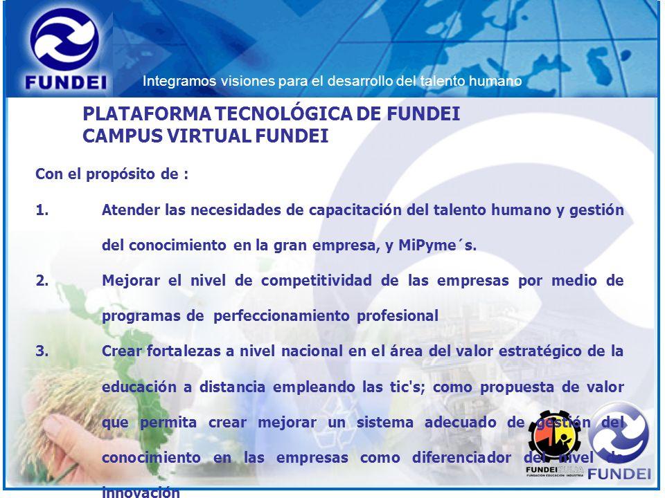 Integramos visiones para el desarrollo del talento humano PLATAFORMA TECNOLÓGICA DE FUNDEI CAMPUS VIRTUAL FUNDEI Con el propósito de : 1.Atender las n