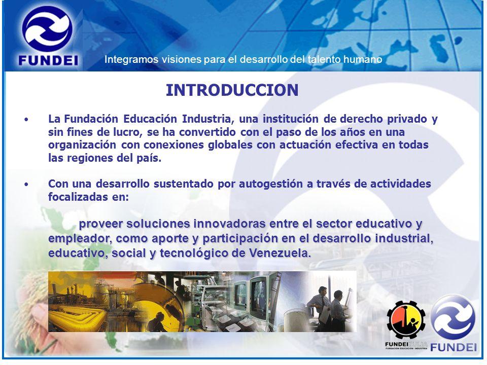 Integramos visiones para el desarrollo del talento humano INTRODUCCION La Fundación Educación Industria, una institución de derecho privado y sin fine