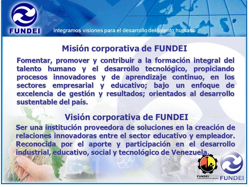 Integramos visiones para el desarrollo del talento humano Fomentar, promover y contribuir a la formación integral del talento humano y el desarrollo t