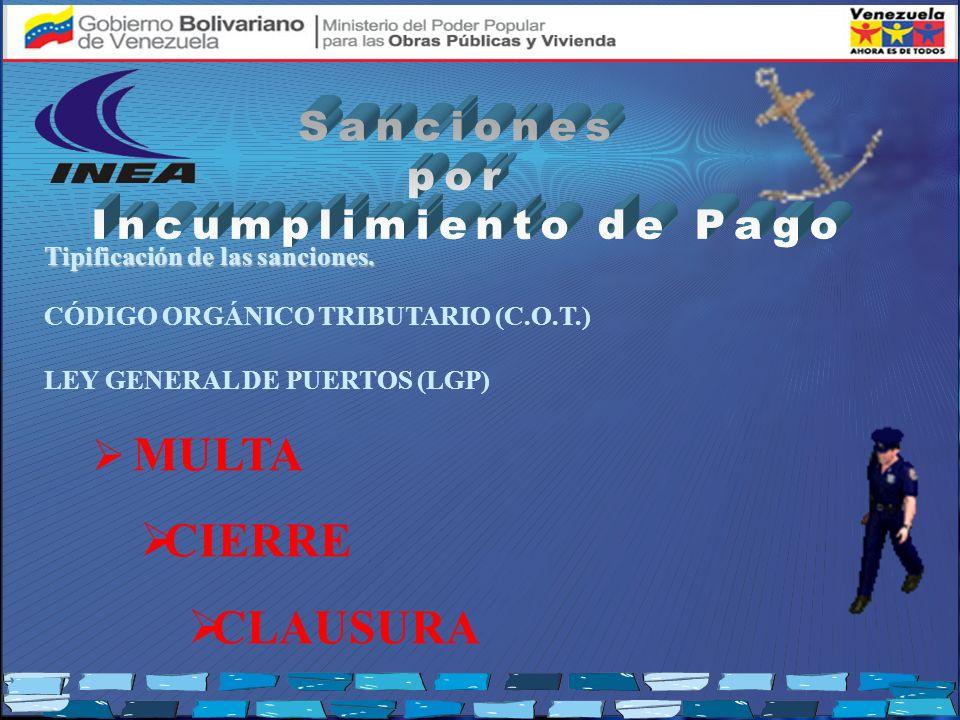 Tipificación de las sanciones. CÓDIGO ORGÁNICO TRIBUTARIO (C.O.T.) LEY GENERAL DE PUERTOS (LGP) MULTA CIERRE CLAUSURA
