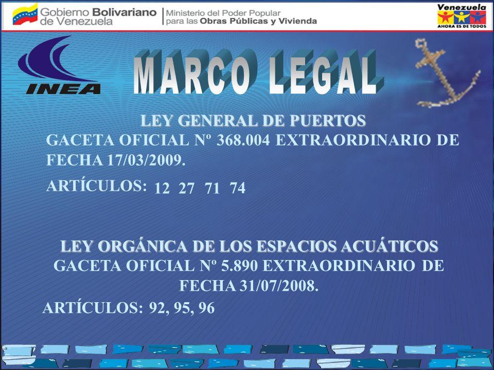 LEY GENERAL DE PUERTOS GACETA OFICIAL Nº 368.004 EXTRAORDINARIO DE FECHA 17/03/2009. ARTÍCULOS: LEY ORGÁNICA DE LOS ESPACIOS ACUÁTICOS LEY ORGÁNICA DE
