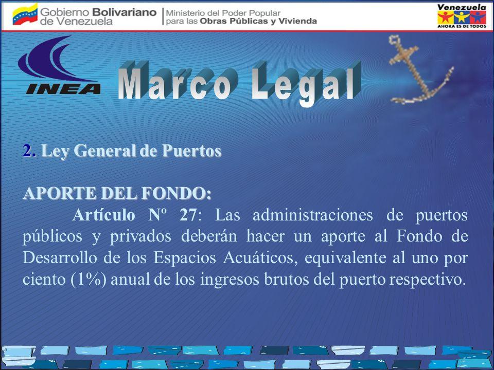 2. Ley General de Puertos APORTE DEL FONDO: Artículo Nº 27: Las administraciones de puertos públicos y privados deberán hacer un aporte al Fondo de De