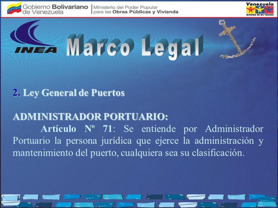 2. Ley General de Puertos ADMINISTRADOR PORTUARIO: Artículo Nº 71: Se entiende por Administrador Portuario la persona jurídica que ejerce la administr