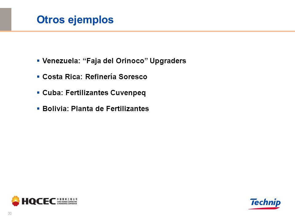 30 Otros ejemplos Venezuela: Faja del Orinoco Upgraders Costa Rica: Refinería Soresco Cuba: Fertilizantes Cuvenpeq Bolivia: Planta de Fertilizantes