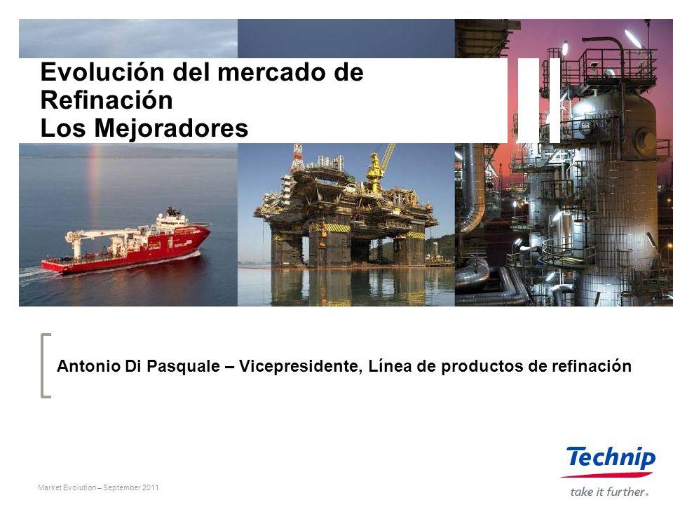 Market Evolution – September 2011 Evolución del mercado de Refinación Los Mejoradores Antonio Di Pasquale – Vicepresidente, Línea de productos de refi