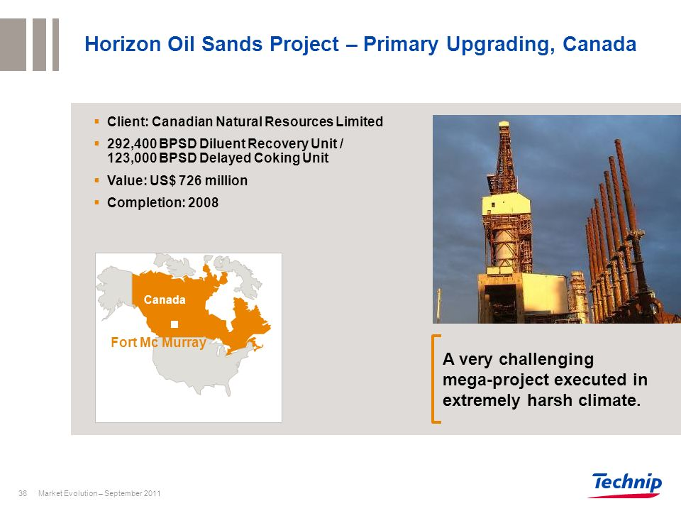 Market Evolution – September 201136 Horizon Oil Sands Project – Primary Upgrading, Canada Client: Canadian Natural Resources Limited 292,400 BPSD Dilu