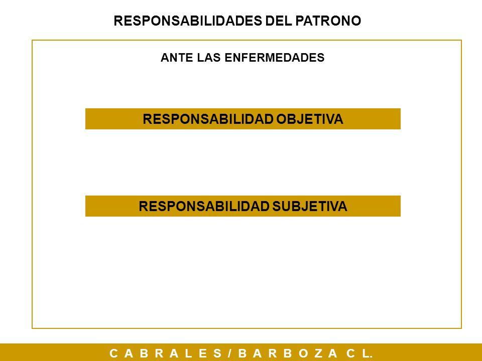 C A B R A L E S / B A R B O Z A C L. RESPONSABILIDADES DEL PATRONO RESPONSABILIDAD OBJETIVA RESPONSABILIDAD SUBJETIVA ANTE LAS ENFERMEDADES