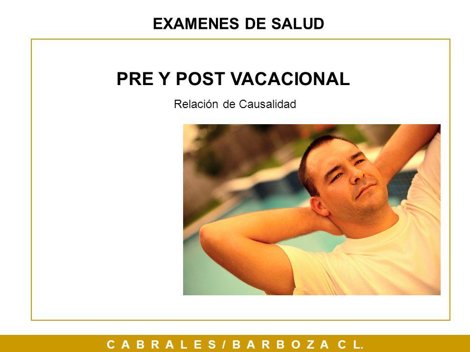EXAMENES DE SALUD PRE Y POST VACACIONAL Relación de Causalidad