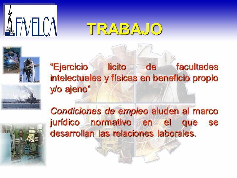 Ejercicio licito de facultades intelectuales y físicas en beneficio propio y/o ajeno Condiciones de empleo aluden al marco jurídico normativo en el qu