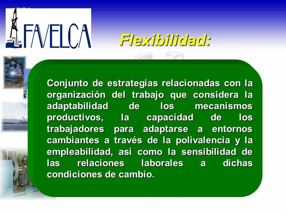 Conjunto de estrategias relacionadas con la organización del trabajo que considera la adaptabilidad de los mecanismos productivos, la capacidad de los
