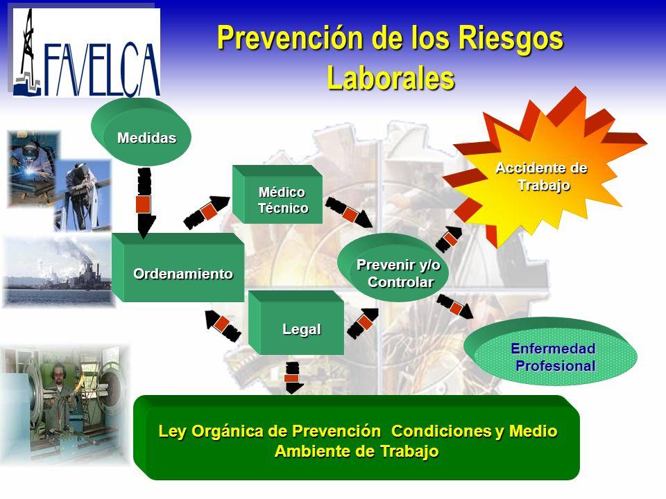Prevención de los Riesgos Laborales MédicoTécnico Legal Ordenamiento Accidente de Trabajo Prevenir y/o Controlar Controlar Medidas EnfermedadProfesion