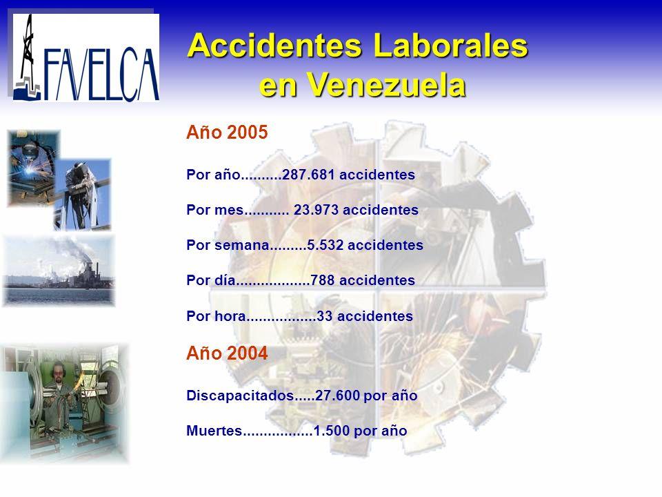 Accidentes Laborales en Venezuela Año 2005 Por año..........287.681 accidentes Por mes........... 23.973 accidentes Por semana.........5.532 accidente