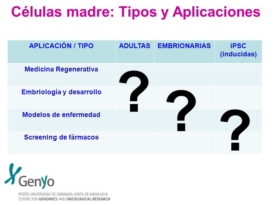 Células madre: Tipos y Aplicaciones APLICACIÓN / TIPOADULTASEMBRIONARIASiPSC (inducidas) Medicina Regenerativa Embriología y desarrollo Modelos de enf