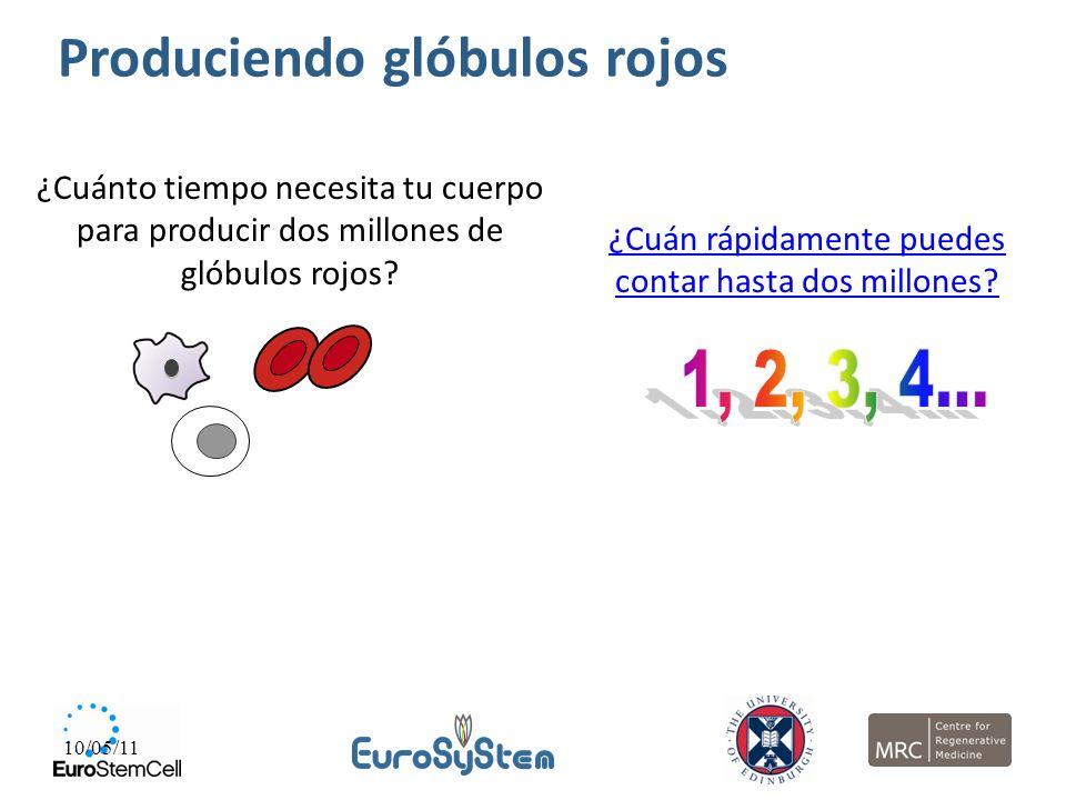 10/05/11 ¿Cuánto tiempo necesita tu cuerpo para producir dos millones de glóbulos rojos? ¿Cuán rápidamente puedes contar hasta dos millones? Producien