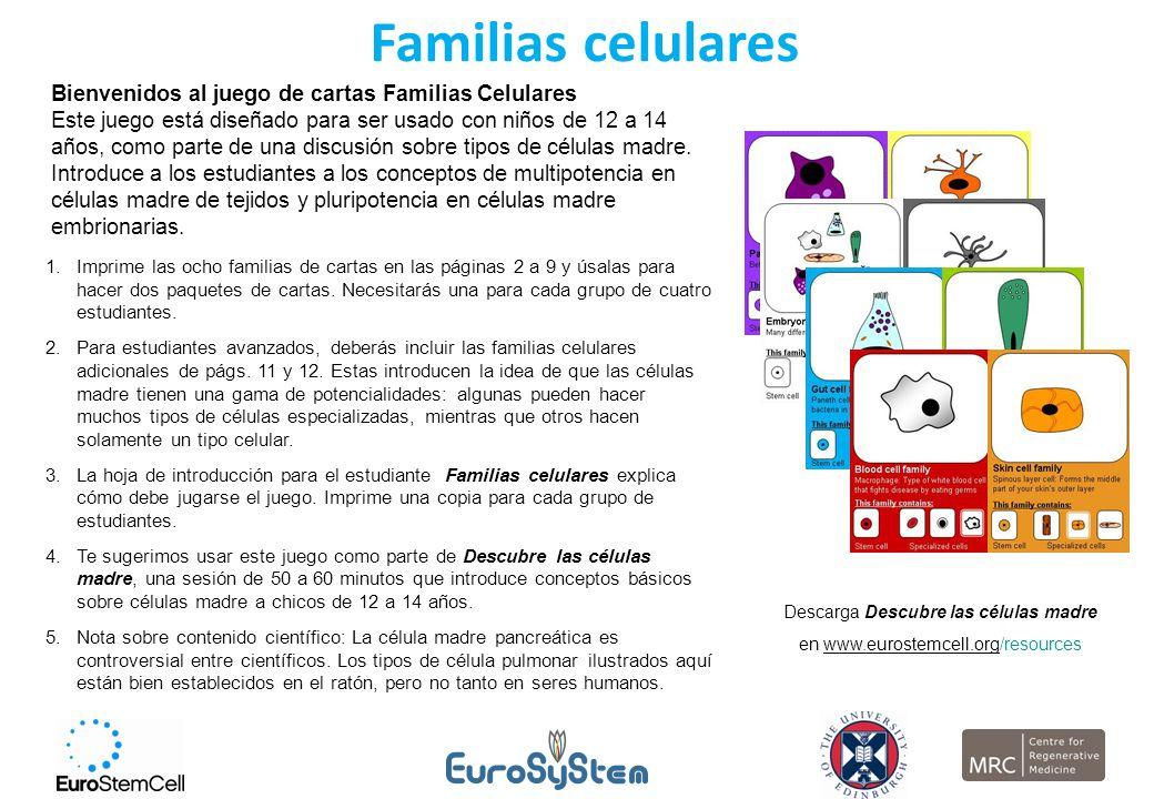 Familias celulares Bienvenidos al juego de cartas Familias Celulares Este juego está diseñado para ser usado con niños de 12 a 14 años, como parte de