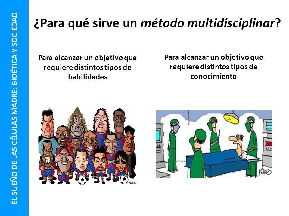 ¿Para qué sirve un método multidisciplinar? Para alcanzar un objetivo que requiere distintos tipos de habilidades Para alcanzar un objetivo que requie