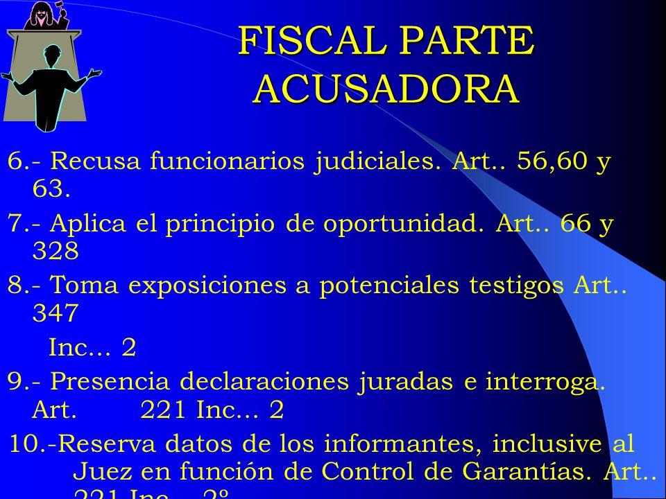 FISCAL PARTE ACUSADORA 6.- Recusa funcionarios judiciales. Art.. 56,60 y 63. 7.- Aplica el principio de oportunidad. Art.. 66 y 328 8.- Toma exposicio
