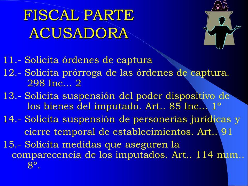 FISCAL PARTE ACUSADORA 11.- Solicita órdenes de captura 12.- Solicita prórroga de las órdenes de captura. 298 Inc... 2 13.- Solicita suspensión del po