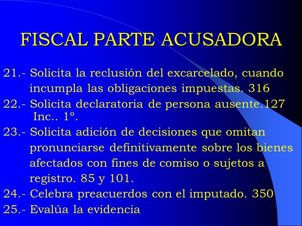 FISCAL PARTE ACUSADORA 21.- Solicita la reclusión del excarcelado, cuando incumpla las obligaciones impuestas. 316 22.- Solicita declaratoria de perso