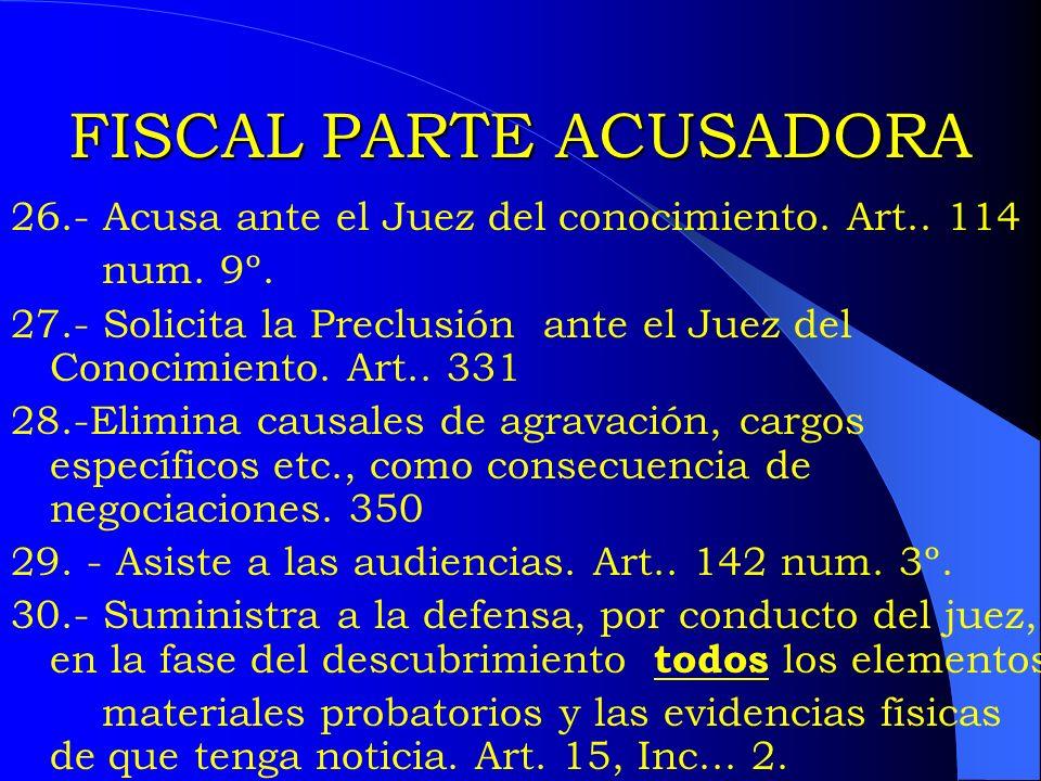 FISCAL PARTE ACUSADORA 26.- Acusa ante el Juez del conocimiento. Art.. 114 num. 9º. 27.- Solicita la Preclusión ante el Juez del Conocimiento. Art.. 3