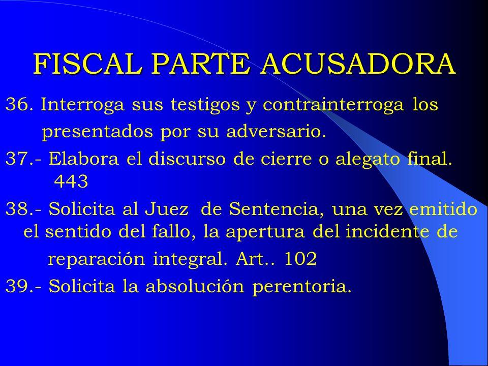 FISCAL PARTE ACUSADORA 36. Interroga sus testigos y contrainterroga los presentados por su adversario. 37.- Elabora el discurso de cierre o alegato fi