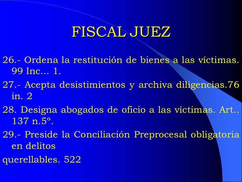 FISCAL JUEZ 26.- Ordena la restitución de bienes a las víctimas. 99 Inc... 1. 27.- Acepta desistimientos y archiva diligencias.76 in. 2 28. Designa ab