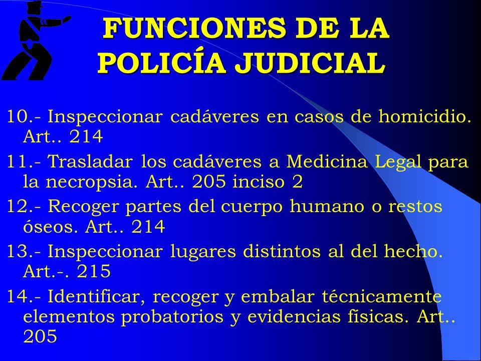 FUNCIONES DE LA POLICÍA JUDICIAL FUNCIONES DE LA POLICÍA JUDICIAL 10.- Inspeccionar cadáveres en casos de homicidio. Art.. 214 11.- Trasladar los cadá