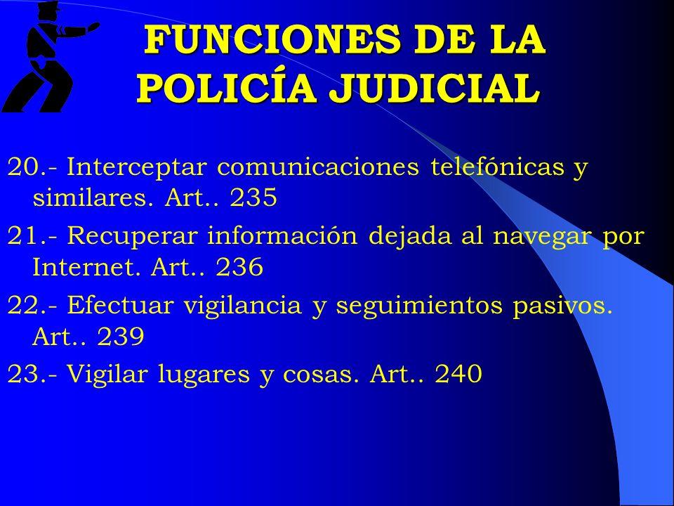 FUNCIONES DE LA POLICÍA JUDICIAL FUNCIONES DE LA POLICÍA JUDICIAL 20.- Interceptar comunicaciones telefónicas y similares. Art.. 235 21.- Recuperar in