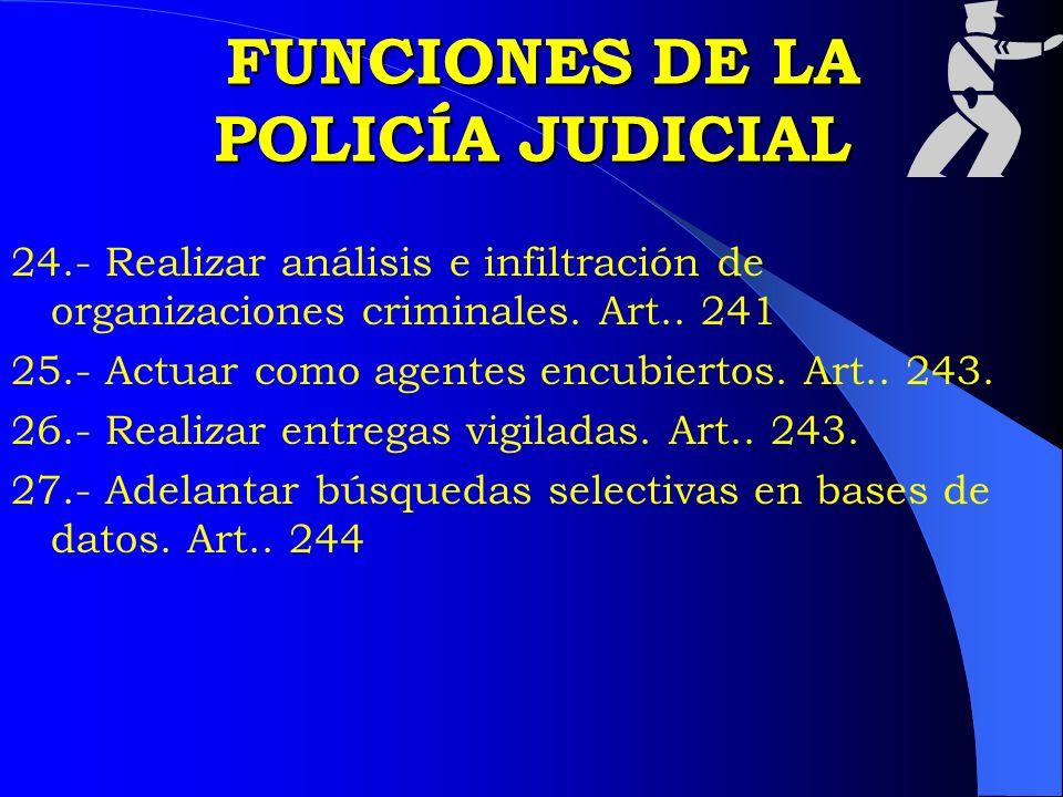 FUNCIONES DE LA POLICÍA JUDICIAL FUNCIONES DE LA POLICÍA JUDICIAL 24.- Realizar análisis e infiltración de organizaciones criminales. Art.. 241 25.- A