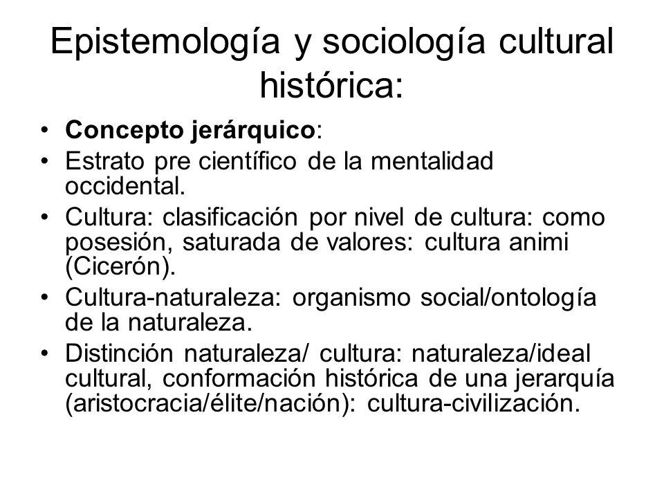 Epistemología y sociología cultural histórica: Concepto jerárquico: Estrato pre científico de la mentalidad occidental. Cultura: clasificación por niv