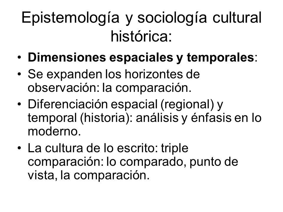Epistemología y sociología cultural histórica: Dimensiones espaciales y temporales: Se expanden los horizontes de observación: la comparación. Diferen