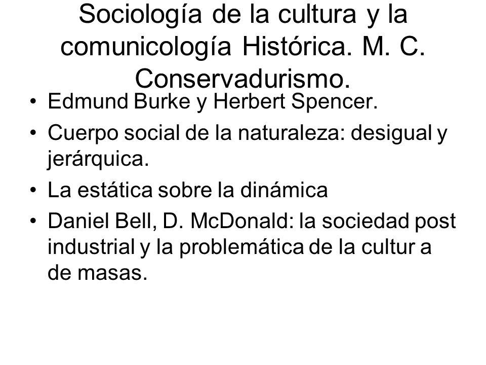 Sociología de la cultura y la comunicología Histórica. M. C. Conservadurismo. Edmund Burke y Herbert Spencer. Cuerpo social de la naturaleza: desigual