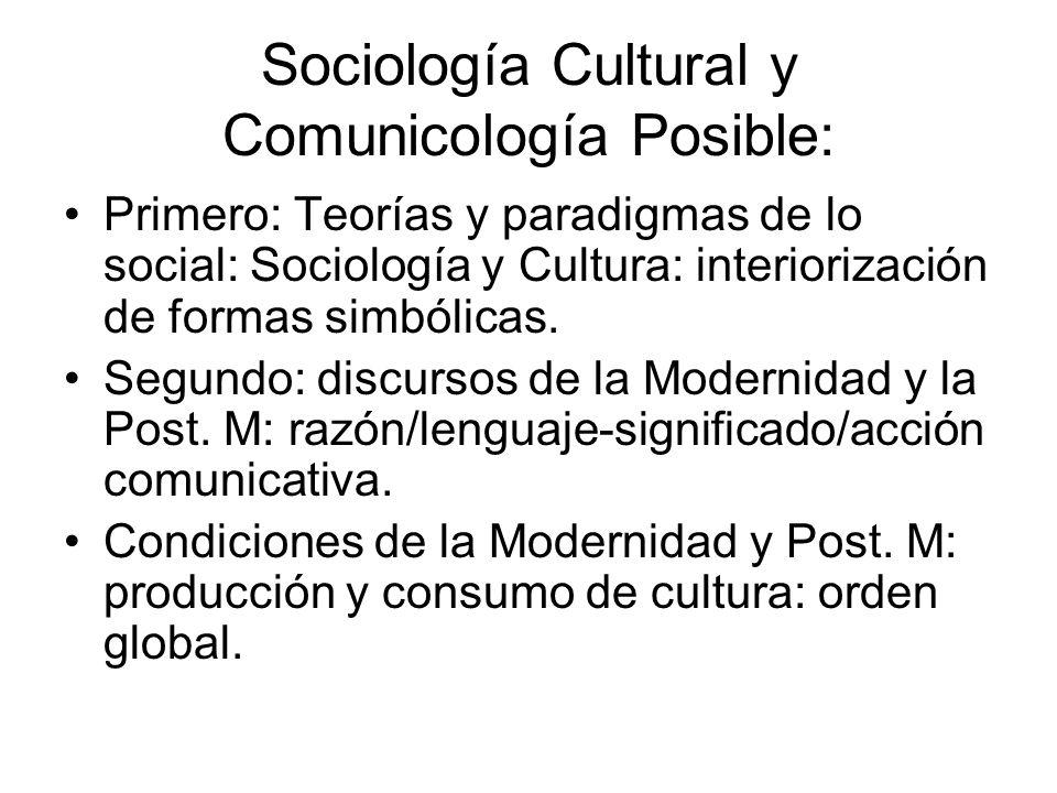 Sociología Cultural y Comunicología Posible: Primero: Teorías y paradigmas de lo social: Sociología y Cultura: interiorización de formas simbólicas. S
