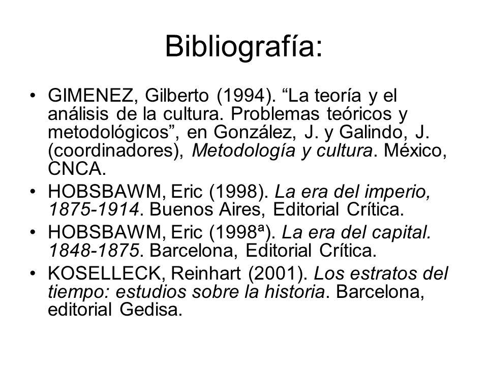 Bibliografía: GIMENEZ, Gilberto (1994). La teoría y el análisis de la cultura. Problemas teóricos y metodológicos, en González, J. y Galindo, J. (coor
