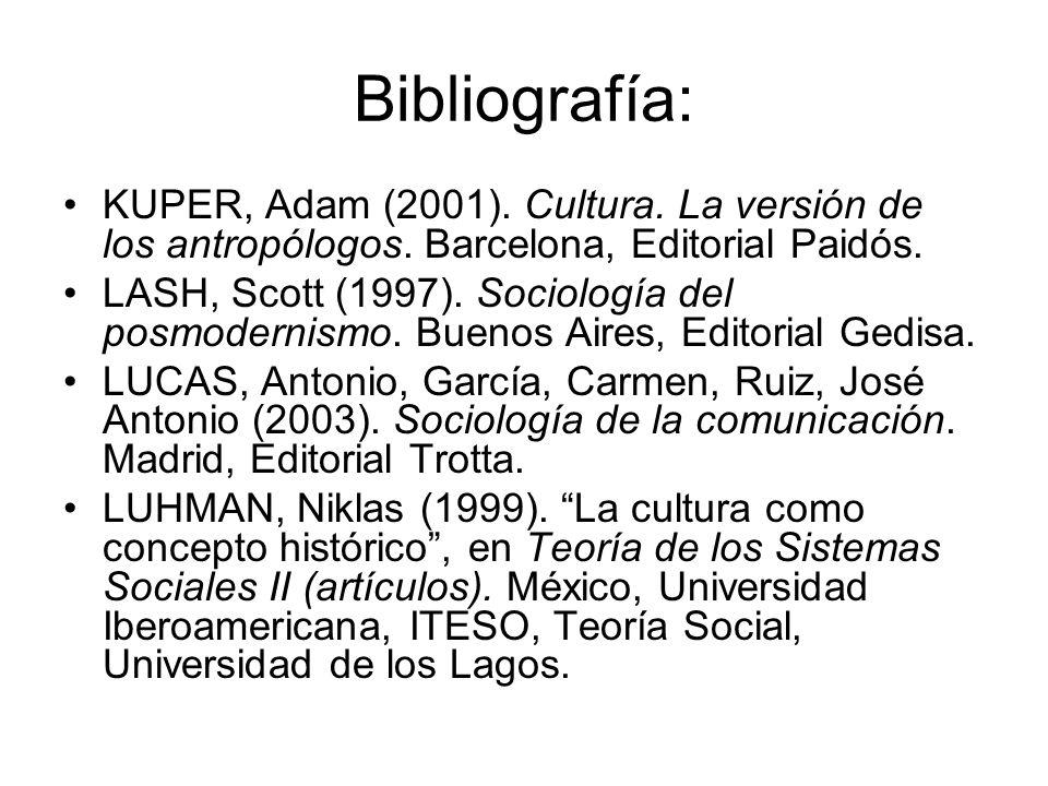 Bibliografía: KUPER, Adam (2001). Cultura. La versión de los antropólogos. Barcelona, Editorial Paidós. LASH, Scott (1997). Sociología del posmodernis