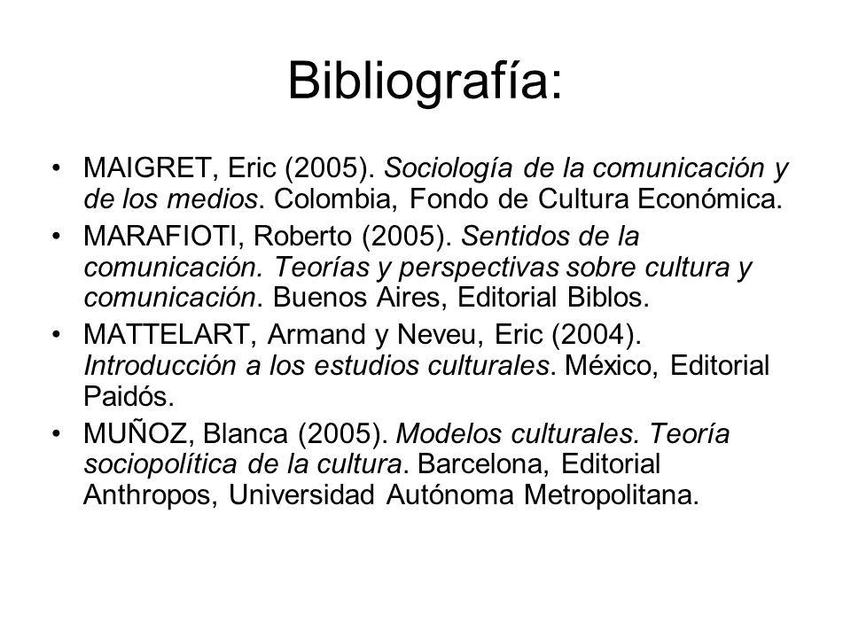 Bibliografía: MAIGRET, Eric (2005). Sociología de la comunicación y de los medios. Colombia, Fondo de Cultura Económica. MARAFIOTI, Roberto (2005). Se