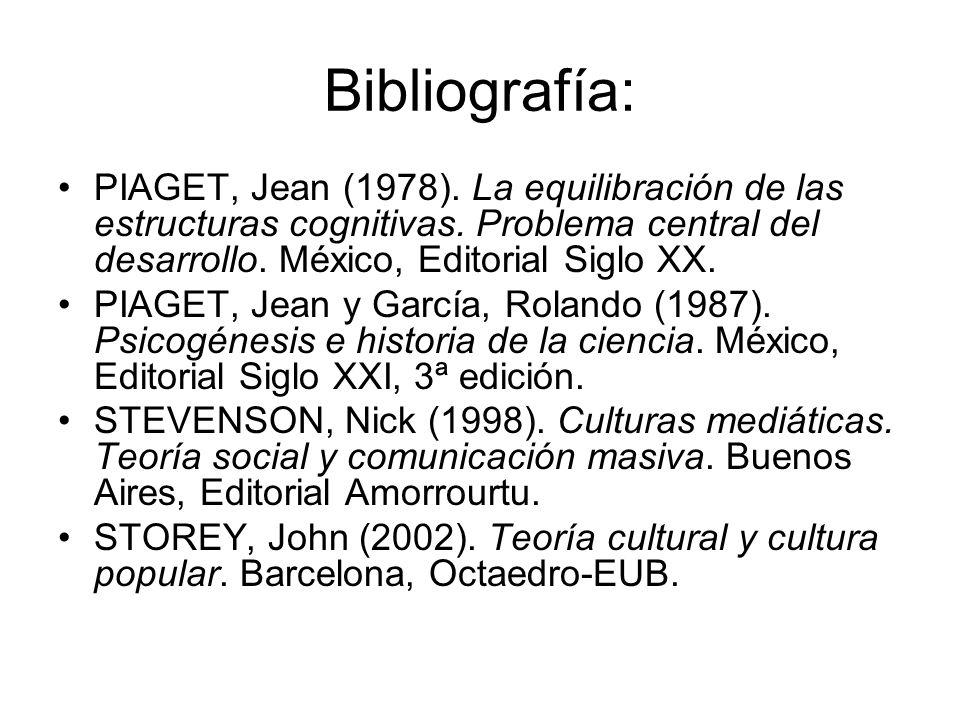 Bibliografía: PIAGET, Jean (1978). La equilibración de las estructuras cognitivas. Problema central del desarrollo. México, Editorial Siglo XX. PIAGET