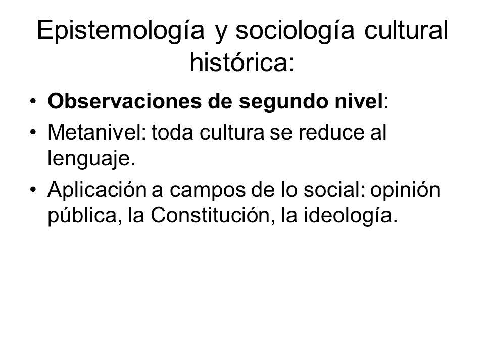 Epistemología y sociología cultural histórica: Observaciones de segundo nivel: Metanivel: toda cultura se reduce al lenguaje. Aplicación a campos de l