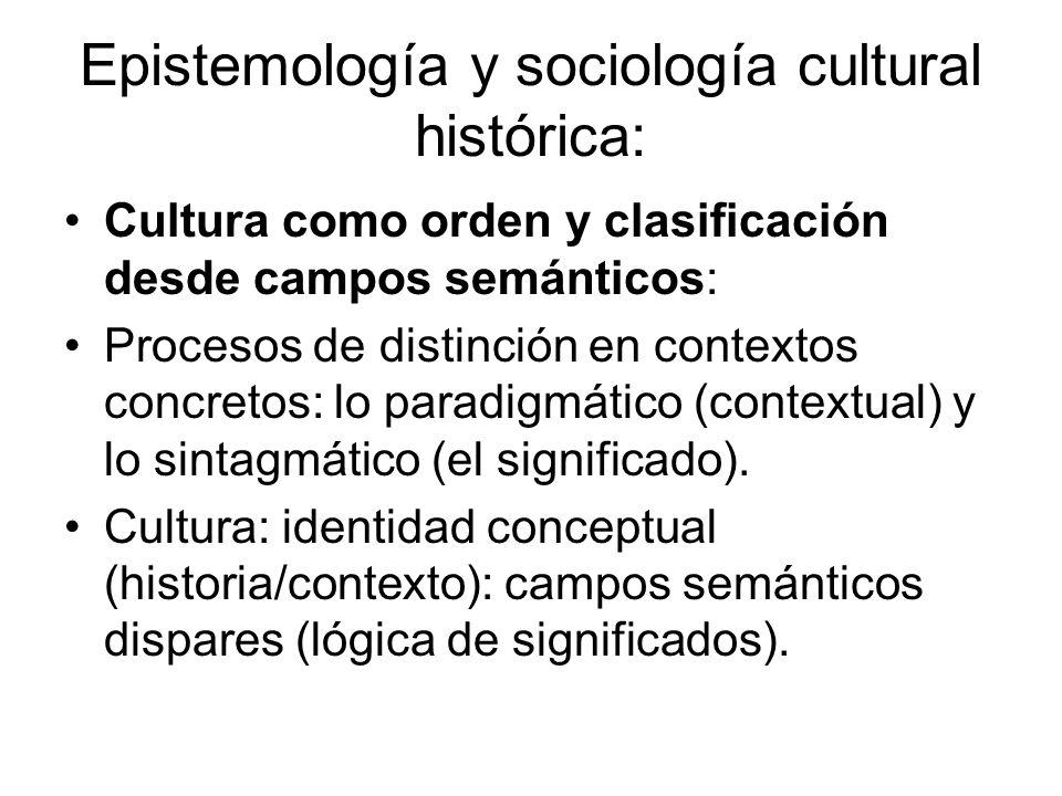 Epistemología y sociología cultural histórica: Cultura como orden y clasificación desde campos semánticos: Procesos de distinción en contextos concret