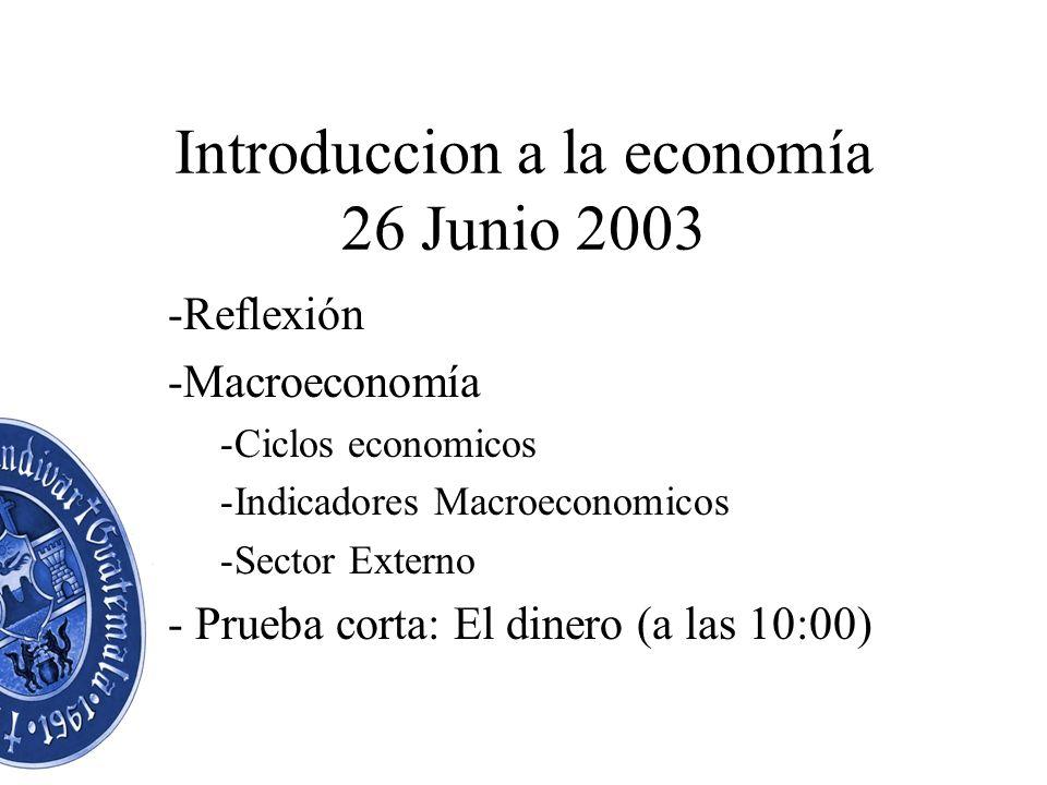 Introduccion a la economía 26 Junio 2003 -Reflexión -Macroeconomía -Ciclos economicos -Indicadores Macroeconomicos -Sector Externo - Prueba corta: El dinero (a las 10:00)